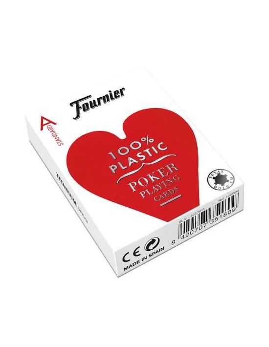 Baraja fournier nº 2500 poker plástico 100% rojo Fournier Baraja plástica