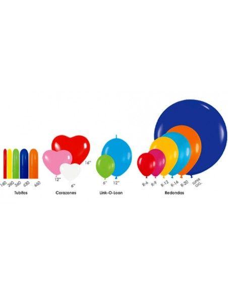 Bolsa de 100 globos sempertex 260 colores surtidos satín Sempertex Globoflexia