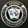 Card guard ladies pair of queens plateado Genérico Fichas y accesorios de naipes