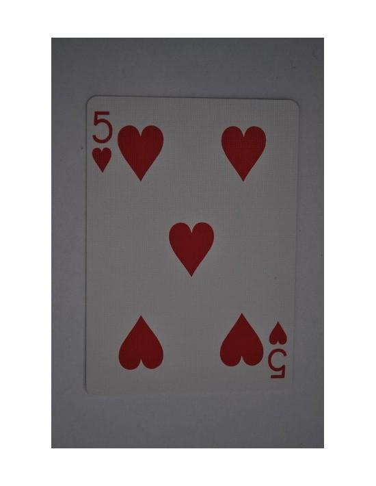 Baraja bicycle 52 cartas iguales dorso azul cinco de corazones US Playing Card Co. Bicycle Poker 52 iguales Azul