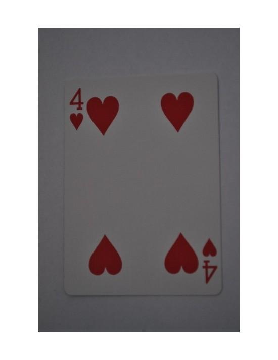 Baraja bicycle 52 cartas iguales dorso rojo cuatro de corazones US Playing Card Co. Bicycle Poker 52 iguales Rojo