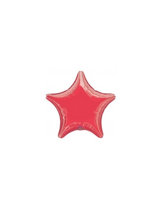 Globo de foil metálico con forma de estrella color rojo de 48 cm Anagram Globos Foil sólidos