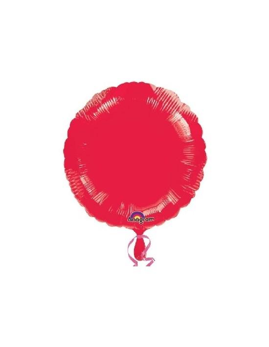 Globo de foil metálico con forma de círculo color rojo de 45 cm Anagram Globos Foil sólidos