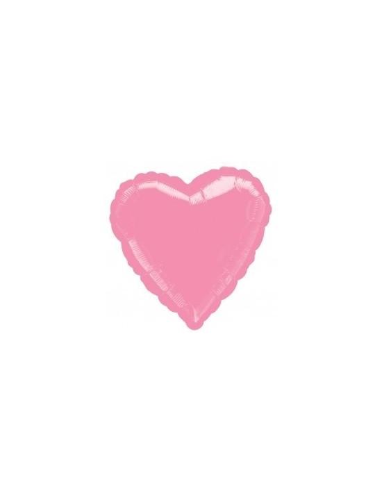 Globo de foil metálico con forma de corazón color rosa chicle de 45 cm Anagram Globos Foil sólidos