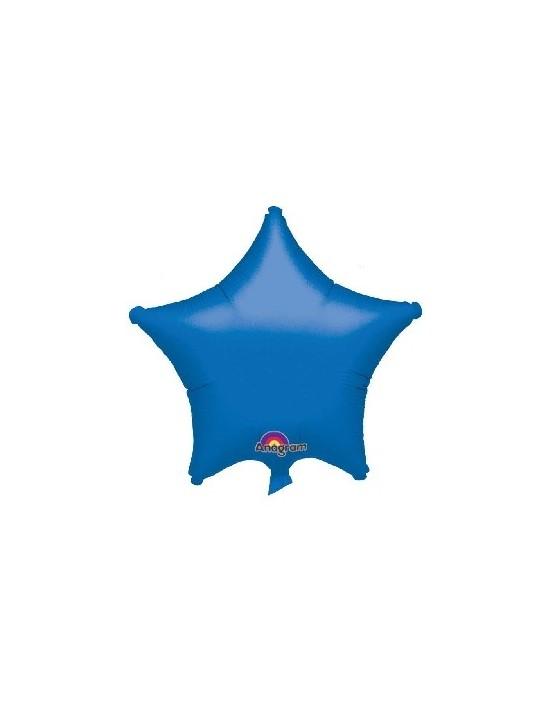 Globo de foil metálico con forma de estrella color azul de 48 cm Anagram Globos Foil sólidos