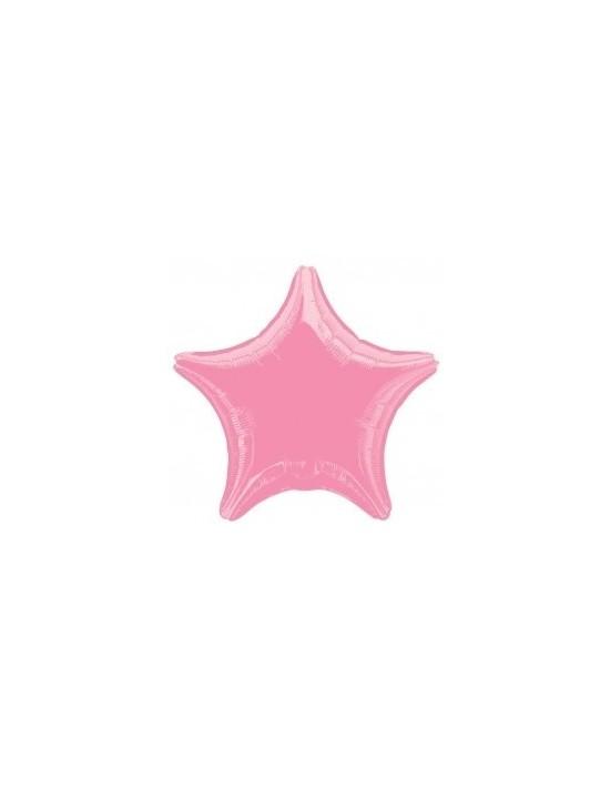 Globo de foil metálico con forma de estrella color rosa chicle de 48 cm Anagram Globos Foil sólidos