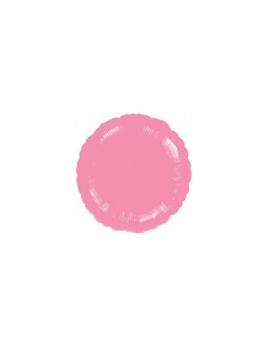 Globo de foil metálico con forma de círculo color rosa chicle de 45 cm Anagram Globos Foil sólidos