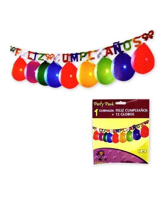 Guirnalda feliz cumpleaños 12 globos 2 m Gran Festival Guirnaldas