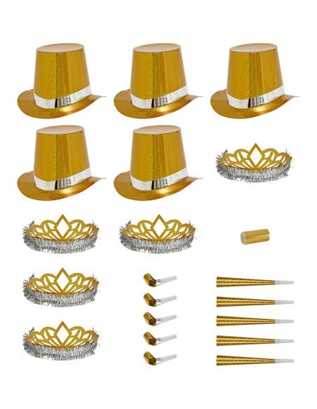 Cotillón holográfico dorado 10 personas Widmann Complementos