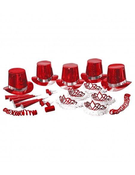 Cotillón holográfico rojo 10 personas Widmann Cotillón