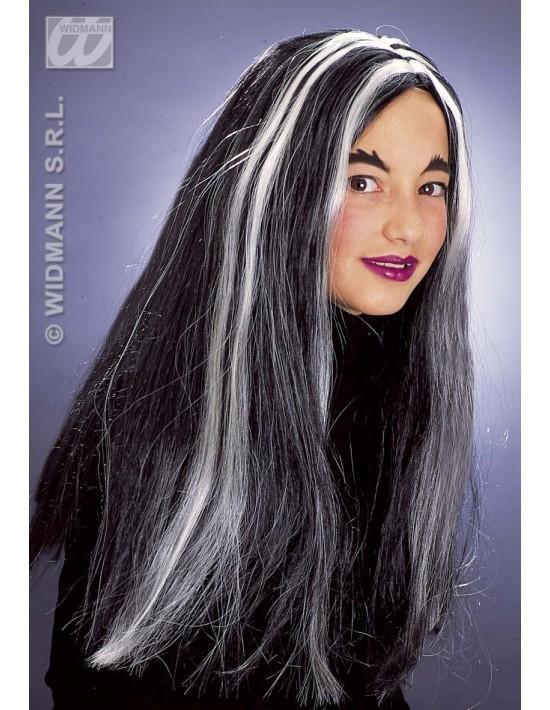 Peluca bruja infantil negro fluorescete mechas blancas Widmann Pelucas y Calvas