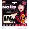Set de 15 uñas negras extralargas con 30 adhesivos Widmann Uñas