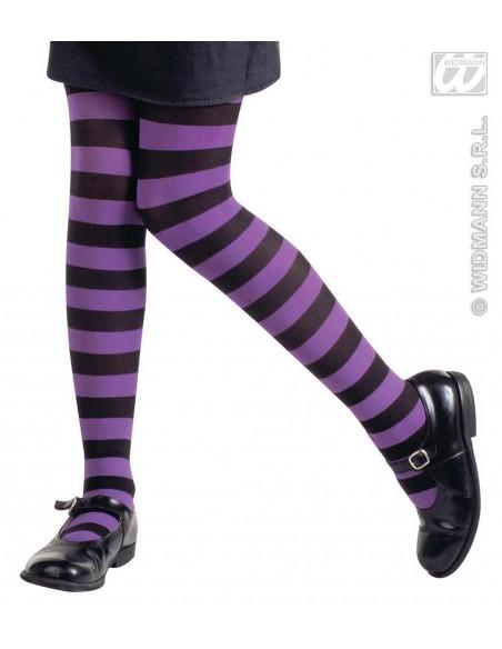 Medias panty de rayas negro y violeta talla 7-10 años Widmann Medias y Pantys