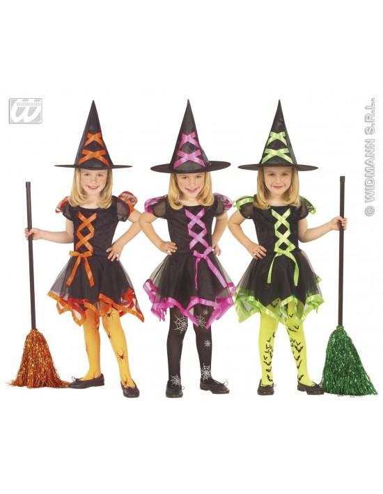 Disfraz bruja neón verde talla 4-5 años Widmann Niña