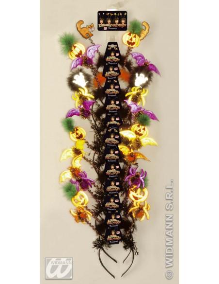 Antenas de halloween de neón modelo arañas Widmann De cabeza