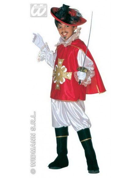 Disfraz de mosquetero 5-7 años, 128 cm rojo Widmann Niño