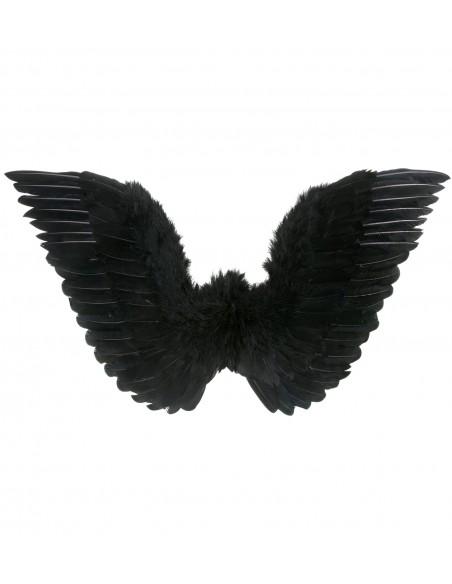 Alas negras con plumas 50x48 cm Widmann Alas