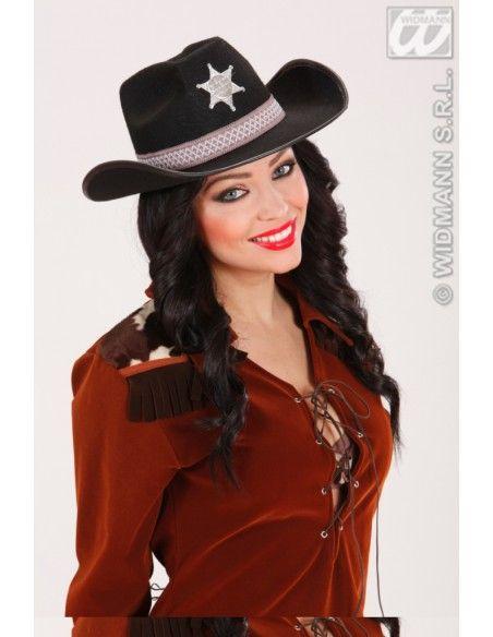 Sombrero de sheriff adulto negro Widmann Sombreros