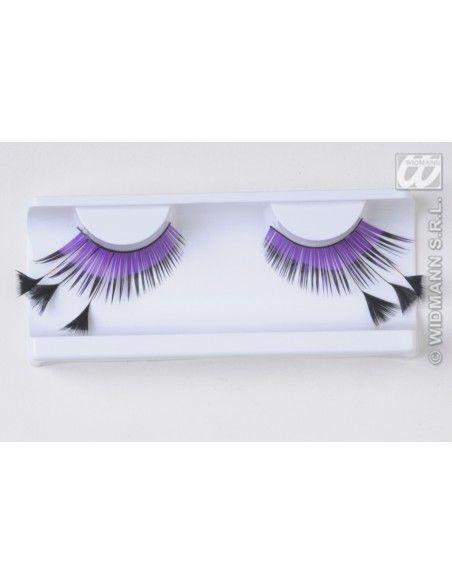 Pestañas plumas violetas y negras Widmann Pestañas