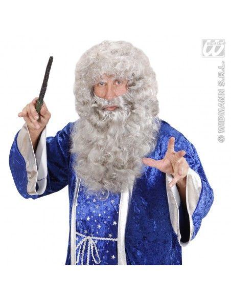 Peluca mago barba larga color gris Widmann Barbas y bigotes