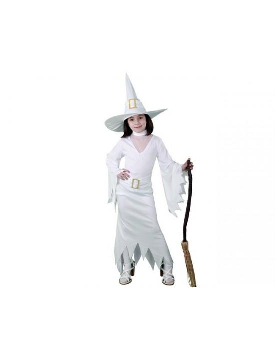 Disfraz bruja largo blanco talla 7-9 años Disfraces BT Niña