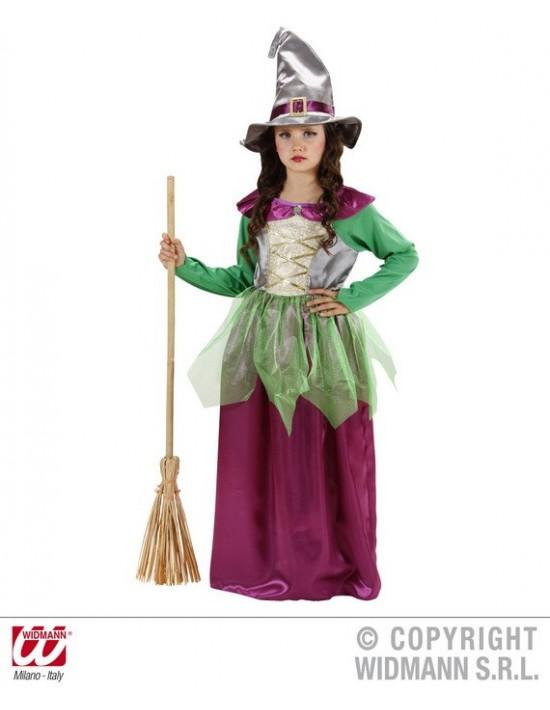 Disfraz brujita verde-violeta talla 11-13 años Widmann Niña