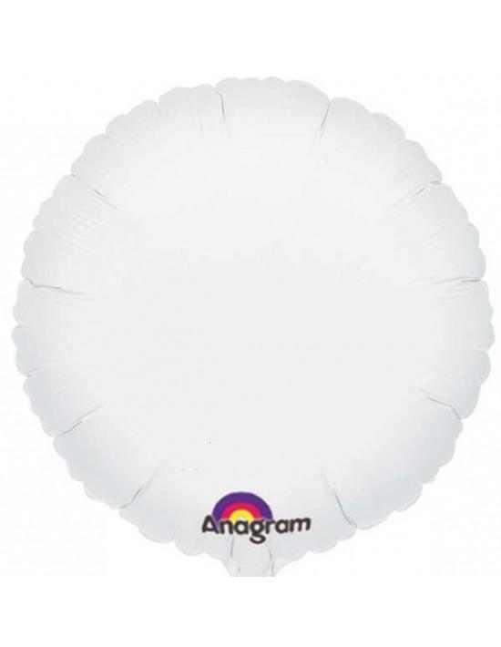 Globo de foil metálico con forma de círculo blanco de 45 cm Anagram Globos Foil sólidos