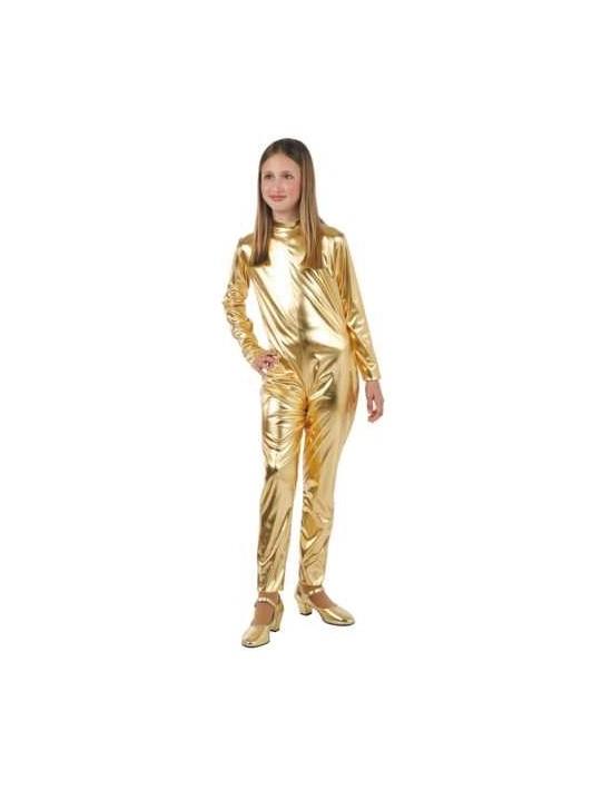 Body licra color metalizado plateado talla 6 años Disfraces FCR Vestimenta