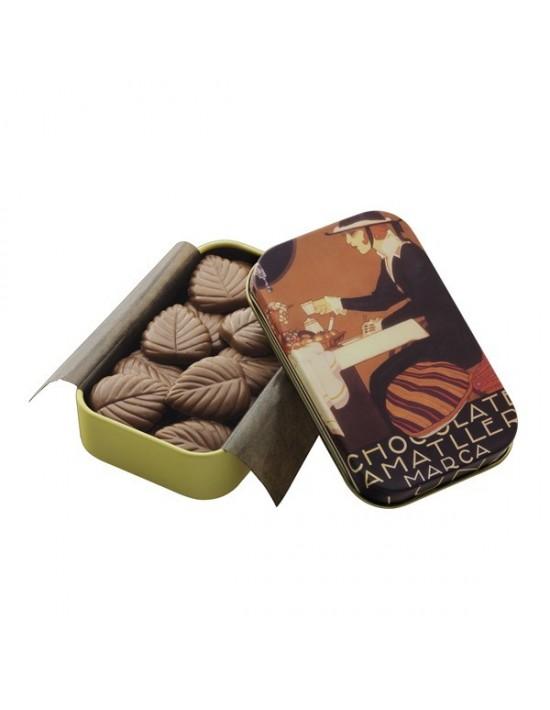 Hojas finas de chocolate con leche amatller 30 g Chocoart Con chocolate