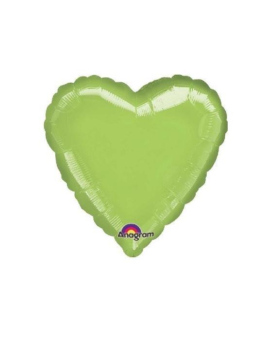 Globo de foil metálico con forma de corazón color verde lima de 45 cm Anagram Globos Foil sólidos
