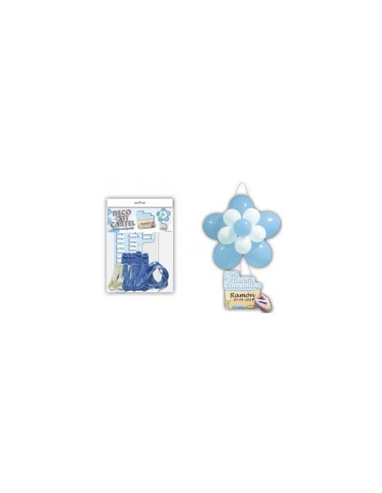 Kit globos flor + cartel comunión azul As De Trebol Sets Figuras