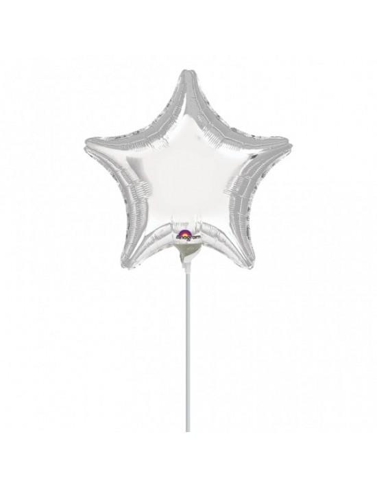 Globo con palito estrella color plata Anagram Globos con palito