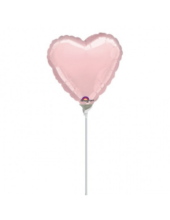 Globo con palito corazón color rosa Anagram Globos con palito