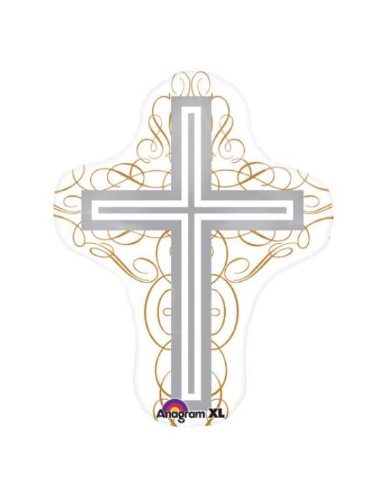 Globo foil cruz elegante Anagram Globos Foil sólidos