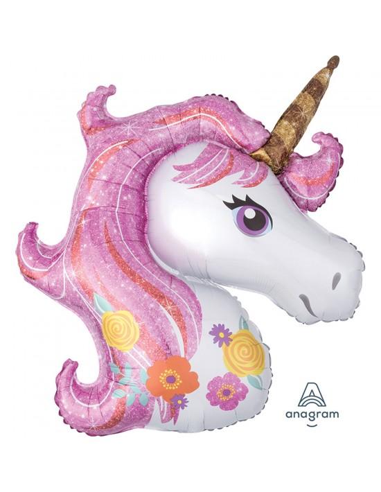 Globo de foil unicornio Anagram Globos con palito