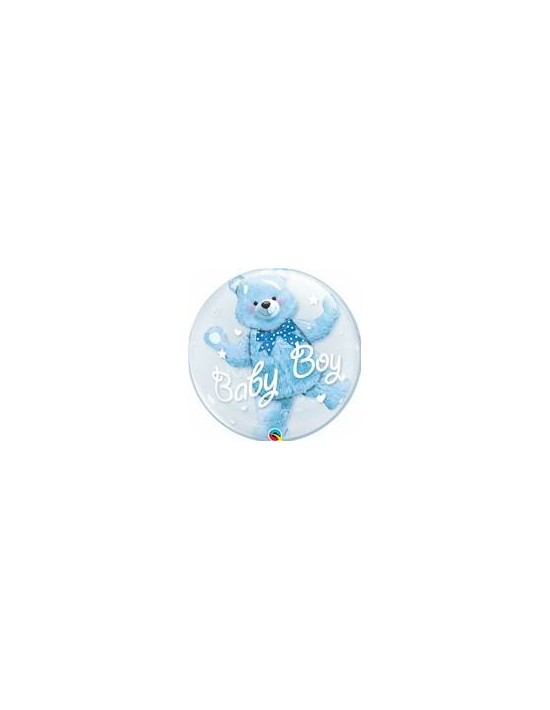 Globo bubble doble qualatex transparente r24 (61 cm) oso azul baby boy Qualatex Globos Bubble Doble
