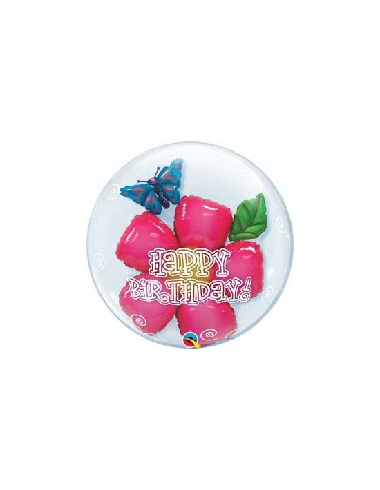 Globo bubble doble qualatex transparente r24 (61 cm) flor happy birthday Qualatex Globos Bubble Doble