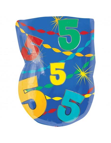 Globo de foil multicolor nº 5 Anagram Globos Foil Números