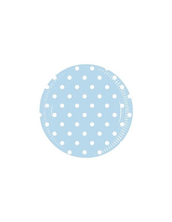Bolsa 8 platos topitos azul y blanco Invcas Vajillas