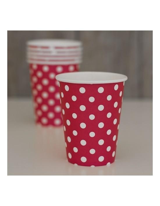 Bolsa 8 vasos topitos rojo y blanco Invcas Vajillas