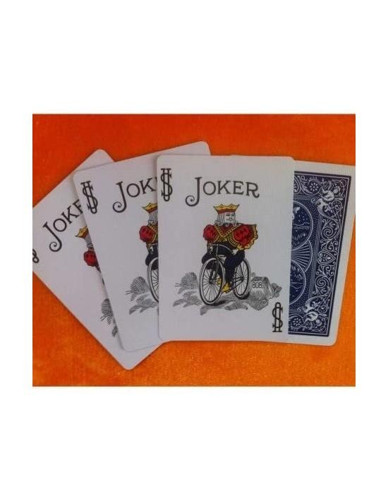 Baraja bicycle 52 cartas iguales dorso azul joker color  Cartomagia