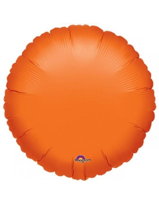 Globo de foil con forma círculo naranja 45 cm.  Globos Foil sólidos